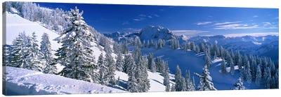 Wintry Mountain Landscape, Bavarian Alps, Bavaria, Germany Canvas Art Print