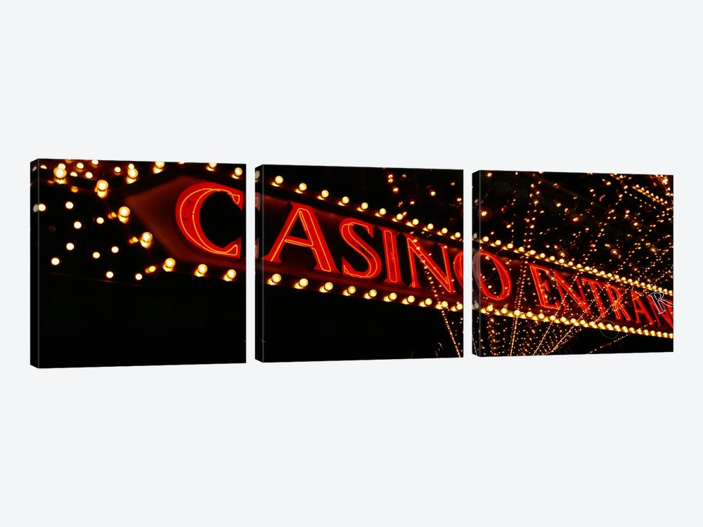 Low angle view of neon signLas Vegas, Nevada, USA by Panoramic Images 3-piece Canvas Art Print