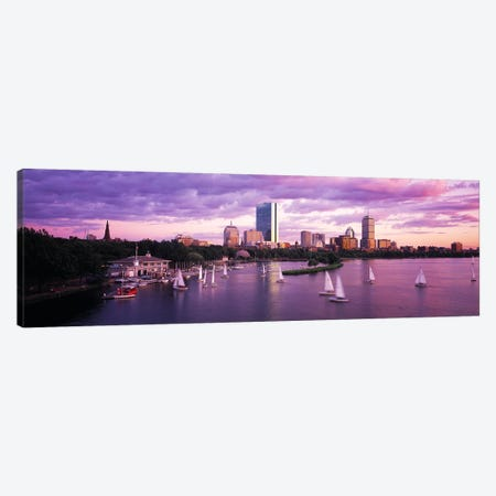 Dusk Boston MA Canvas Print #PIM4019} by Panoramic Images Canvas Artwork