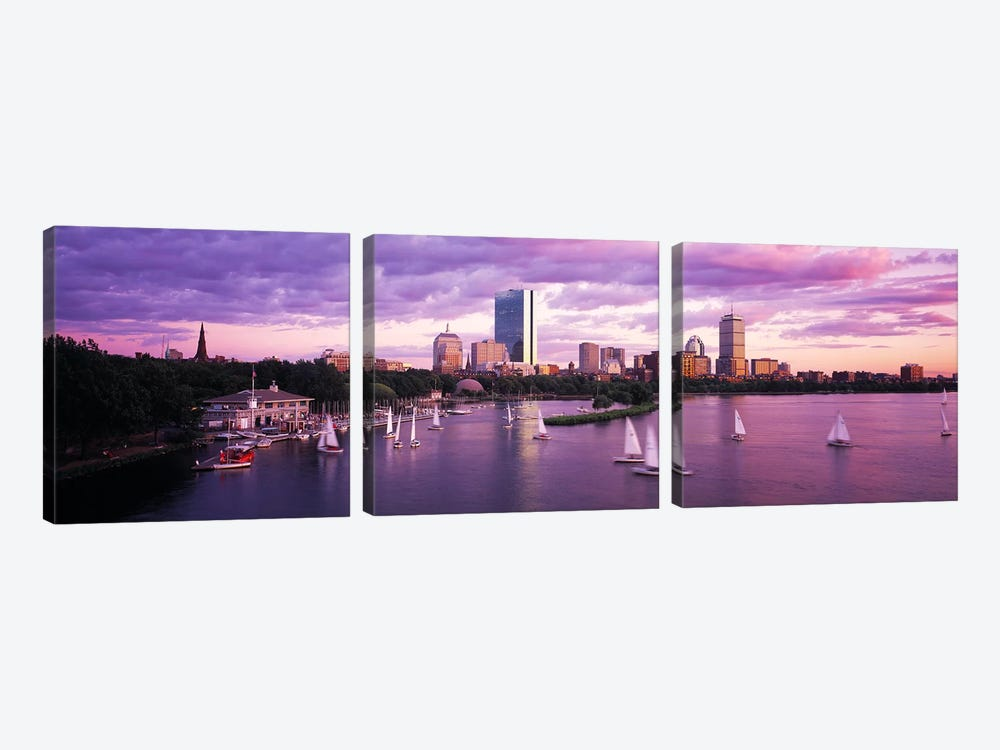 Dusk Boston MA 3-piece Canvas Artwork