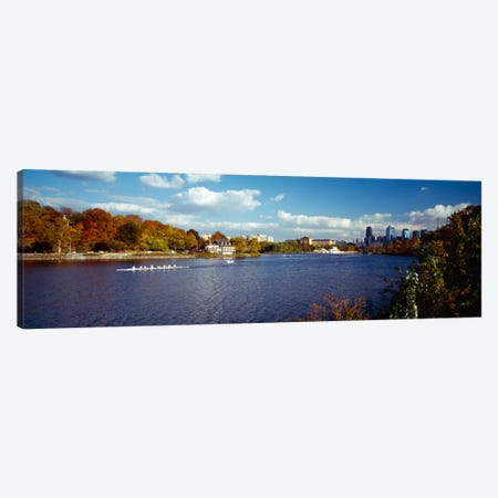 Boat in the riverSchuylkill River, Philadelphia, Pennsylvania, USA Canvas Print #PIM401} by Panoramic Images Canvas Art