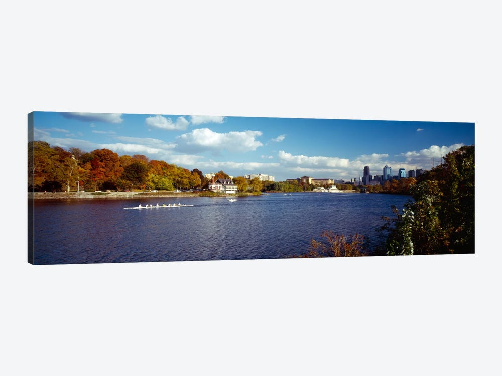 Boat in the riverSchuylkill River, Philadelphia, Pennsylvania, USA by Panoramic Images 1-piece Canvas Artwork