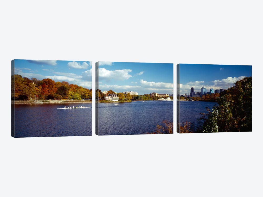 Boat in the riverSchuylkill River, Philadelphia, Pennsylvania, USA by Panoramic Images 3-piece Canvas Art