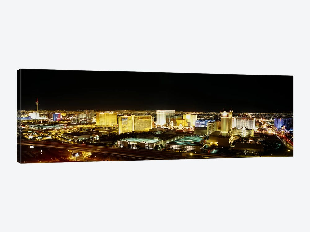 High Angle View of Buildings Lit Up At NightLas Vegas, Nevada, USA 1-piece Canvas Print