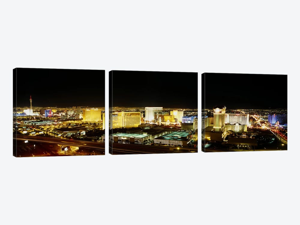 High Angle View of Buildings Lit Up At NightLas Vegas, Nevada, USA 3-piece Canvas Print