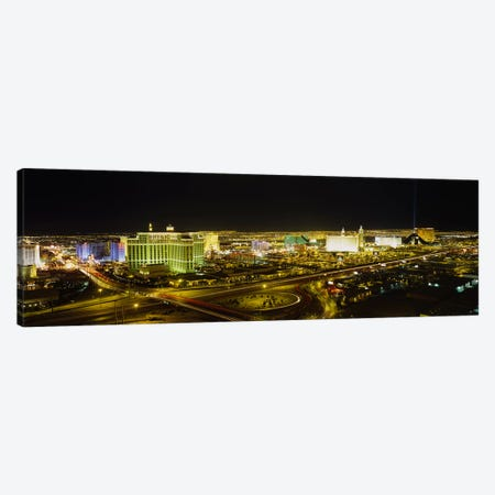 High Angle View of Buildings Lit Up At NightLas Vegas, Nevada, USA Canvas Print #PIM4022} by Panoramic Images Art Print