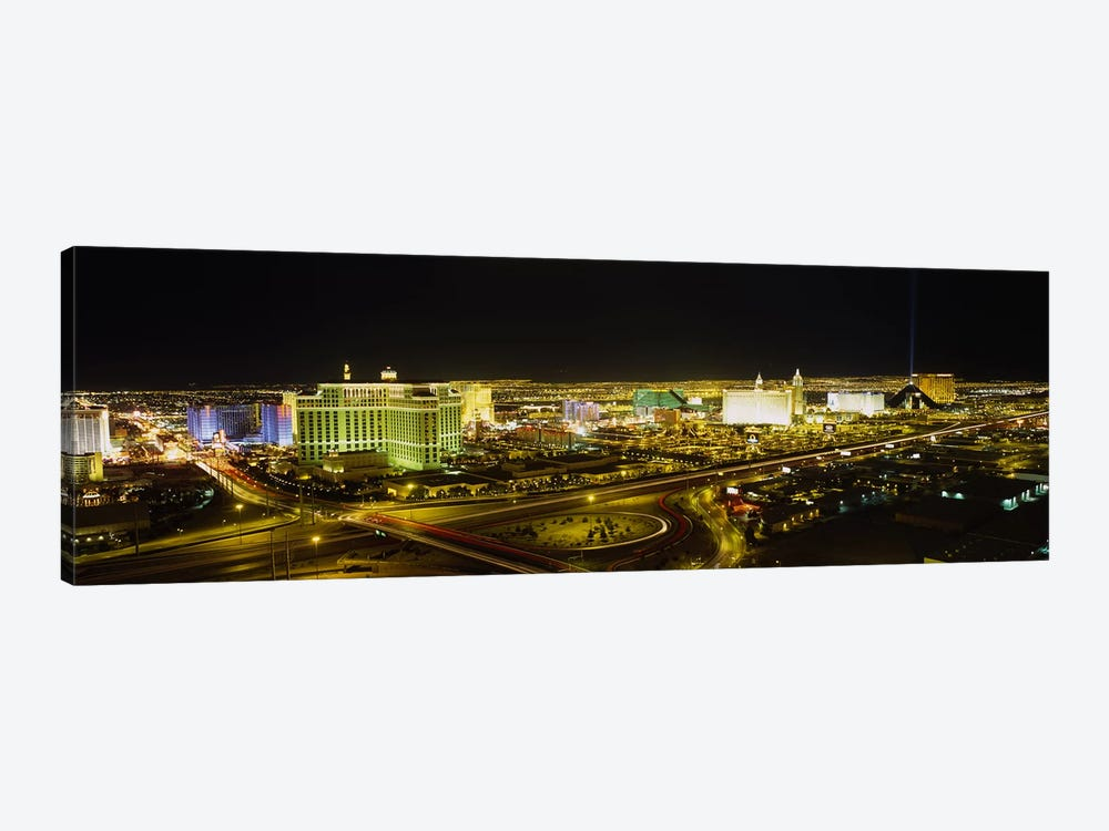 High Angle View of Buildings Lit Up At NightLas Vegas, Nevada, USA by Panoramic Images 1-piece Canvas Art