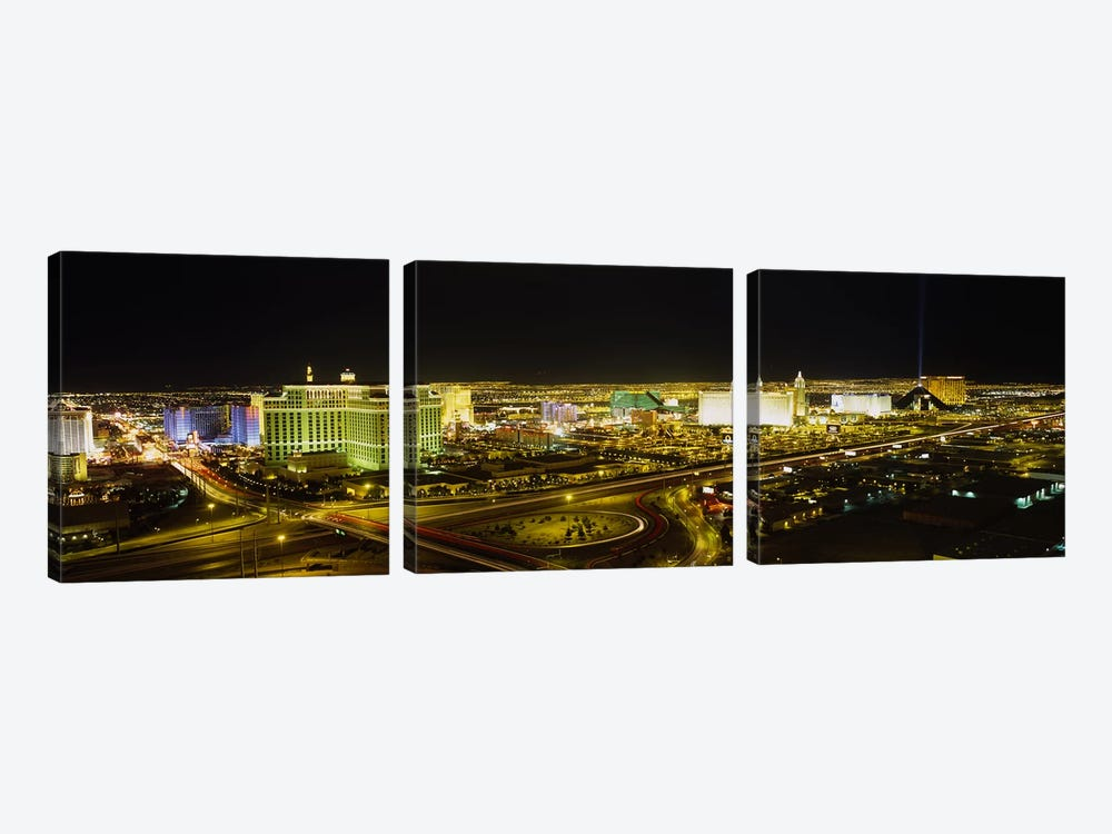 High Angle View of Buildings Lit Up At NightLas Vegas, Nevada, USA by Panoramic Images 3-piece Canvas Wall Art