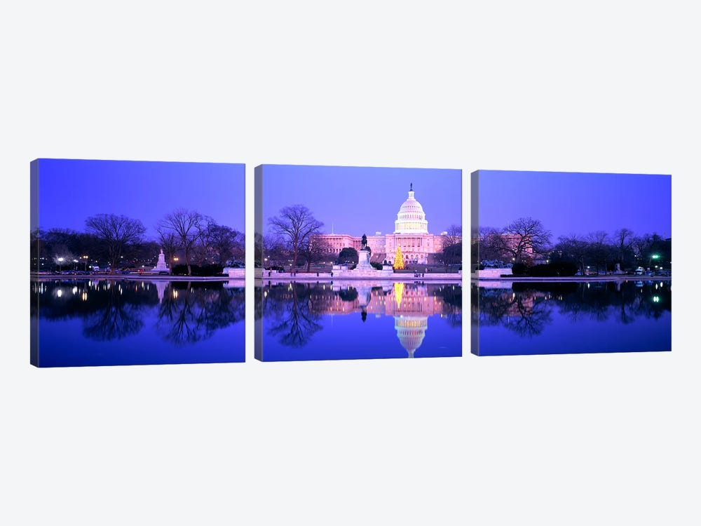 ChristmasUS Capitol, Washington DC, District of Columbia, USA by Panoramic Images 3-piece Art Print