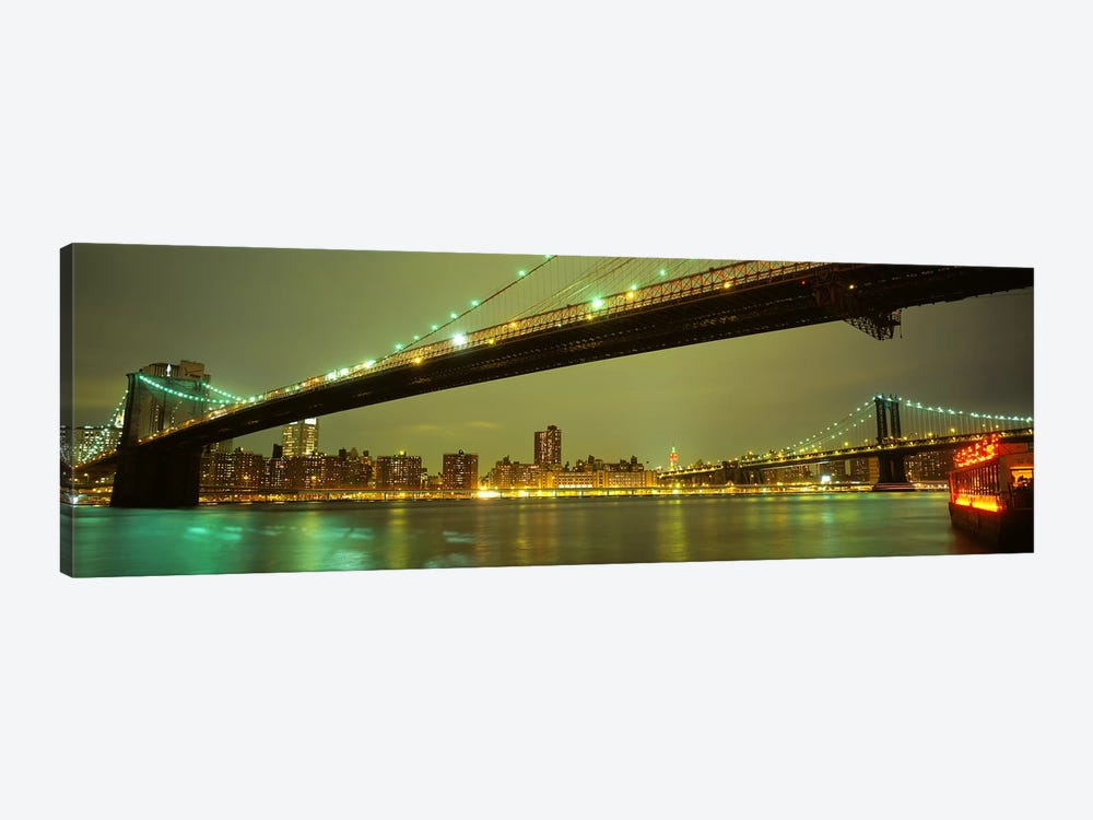 Brooklyn Bridge & Manhattan Bridge, New York City, New York, USA by Panoramic Images 1-piece Canvas Wall Art