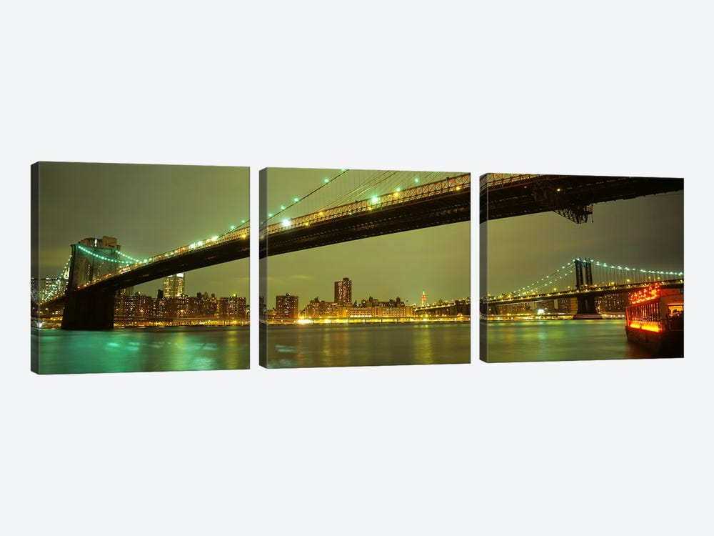 Brooklyn Bridge & Manhattan Bridge, New York City, New York, USA by Panoramic Images 3-piece Canvas Art