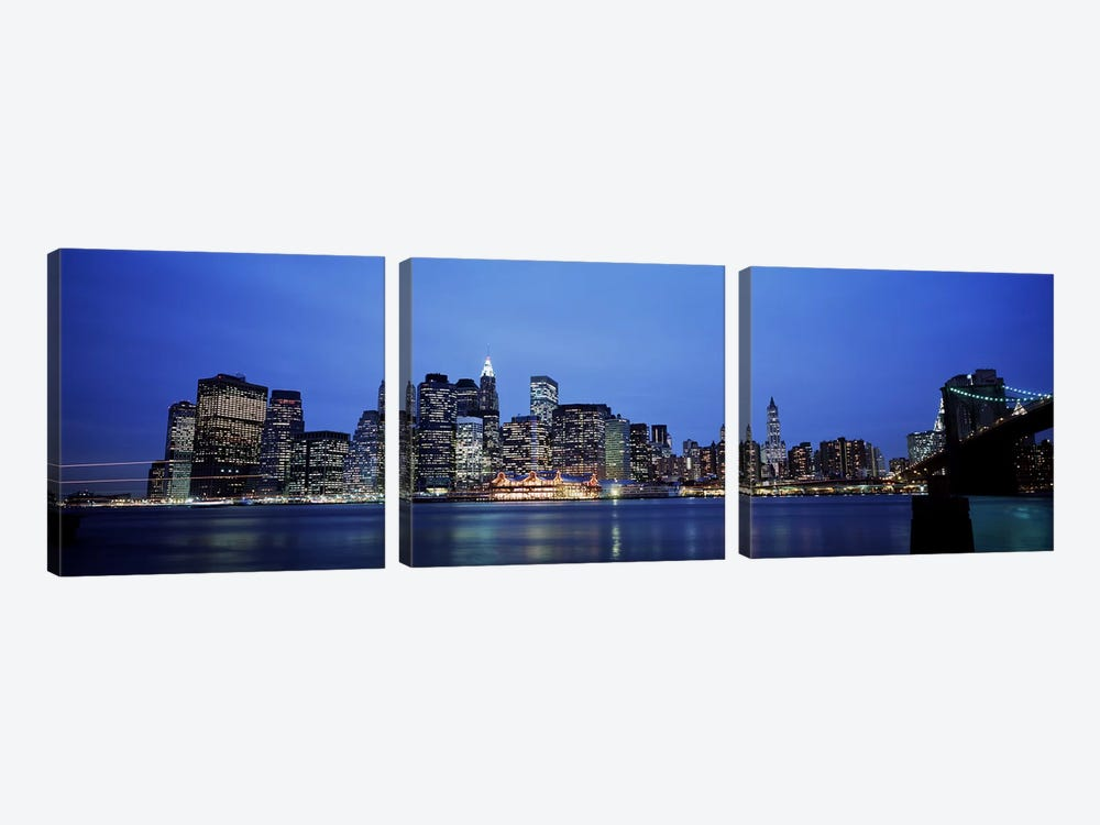 Buildings at the waterfront, Manhattan, New York City, New York State, USA by Panoramic Images 3-piece Art Print