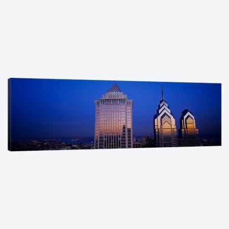 Skyscrapers lit up at night, Mellon Bank Center, Liberty Place, Philadelphia, Pennsylvania, USA Canvas Print #PIM402} by Panoramic Images Canvas Artwork