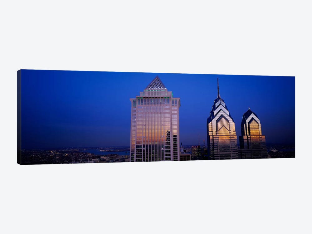 Skyscrapers lit up at night, Mellon Bank Center, Liberty Place, Philadelphia, Pennsylvania, USA by Panoramic Images 1-piece Canvas Print