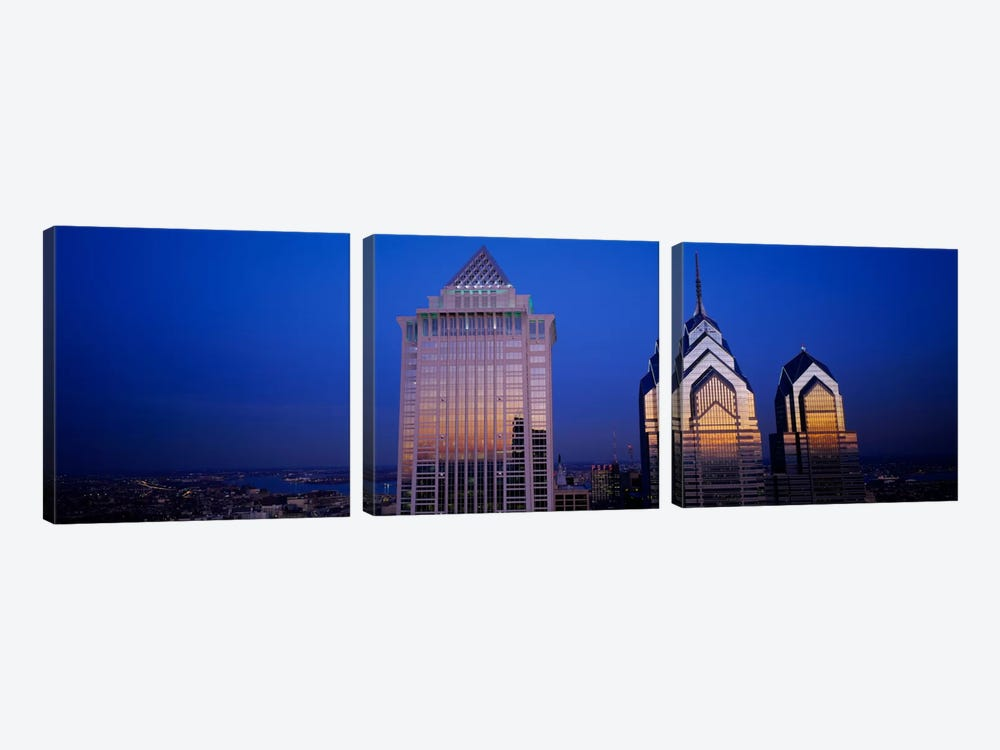 Skyscrapers lit up at night, Mellon Bank Center, Liberty Place, Philadelphia, Pennsylvania, USA by Panoramic Images 3-piece Art Print