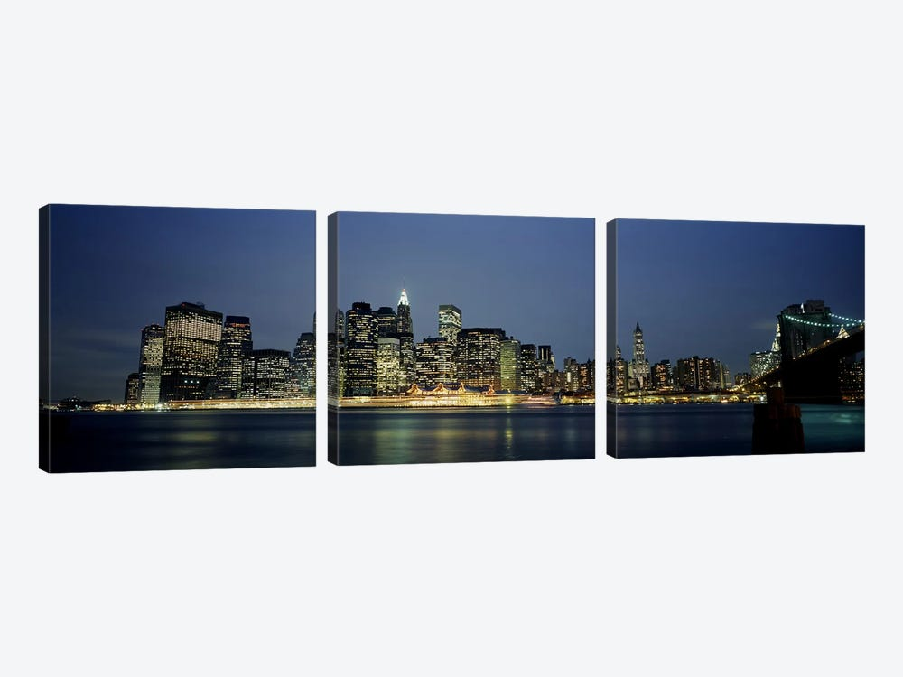 Buildings on The waterfront, NYC, New York City, New York State, USA by Panoramic Images 3-piece Canvas Art Print