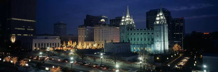 Temple Lit Up At Nightmormon Temple Salt Lake City Utah Usa Icanvas