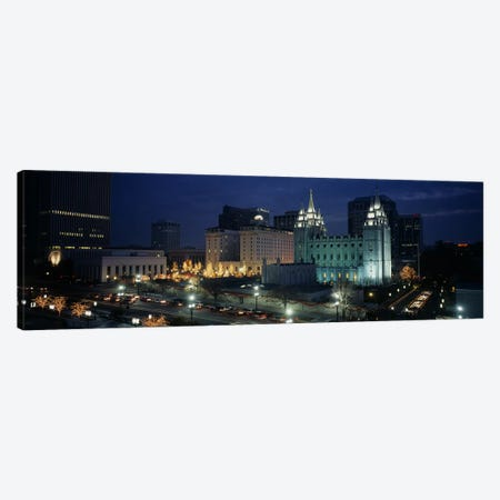 Temple lit up at nightMormon Temple, Salt Lake City, Utah, USA Canvas Print #PIM4031} by Panoramic Images Canvas Artwork