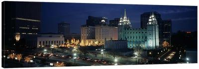 Temple lit up at nightMormon Temple, Salt Lake City, Utah, USA Canvas Print #PIM4031