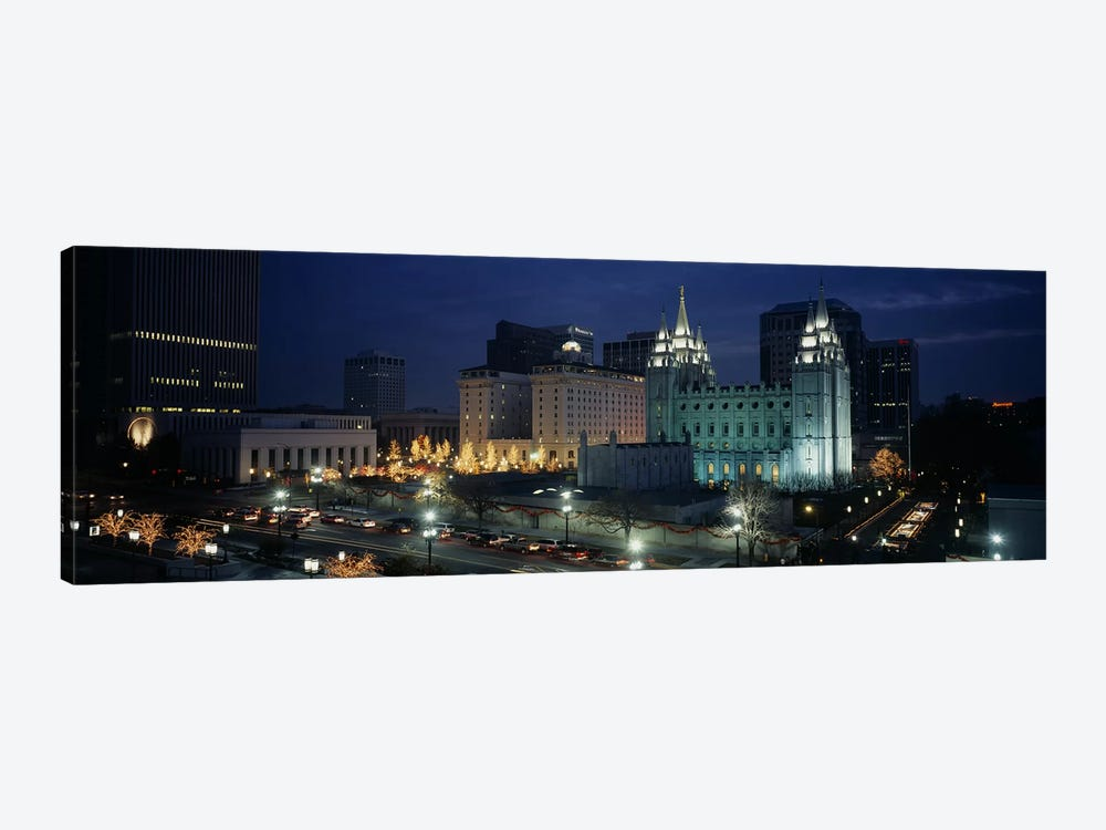 Temple lit up at nightMormon Temple, Salt Lake City, Utah, USA by Panoramic Images 1-piece Canvas Wall Art