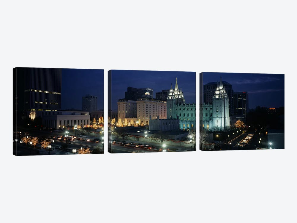 Temple lit up at nightMormon Temple, Salt Lake City, Utah, USA by Panoramic Images 3-piece Canvas Art