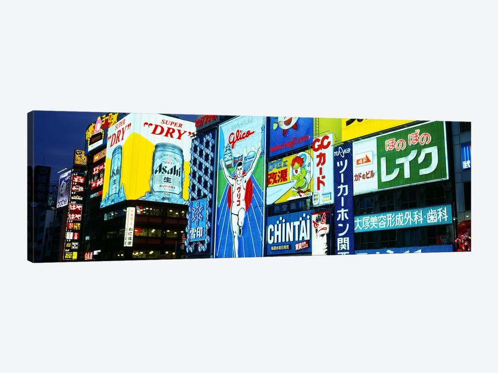 Illuminated Billboards, Dotonbori, Namba District, Osaka, Japan by Panoramic Images 1-piece Canvas Wall Art