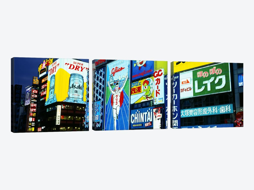 Illuminated Billboards, Dotonbori, Namba District, Osaka, Japan by Panoramic Images 3-piece Canvas Art