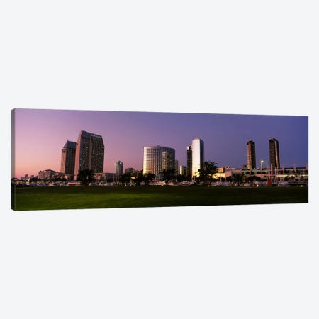 Marina Park And Skyline At Dusk, San Diego, California, USA Canvas Print #PIM4037} by Panoramic Images Canvas Art Print