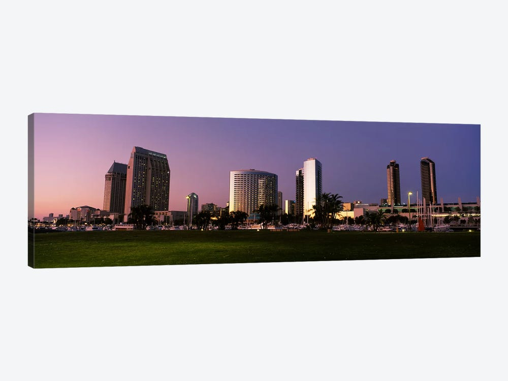 Marina Park And Skyline At Dusk, San Diego, California, USA by Panoramic Images 1-piece Canvas Art