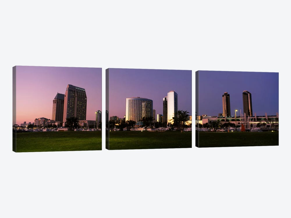 Marina Park And Skyline At Dusk, San Diego, California, USA 3-piece Canvas Art