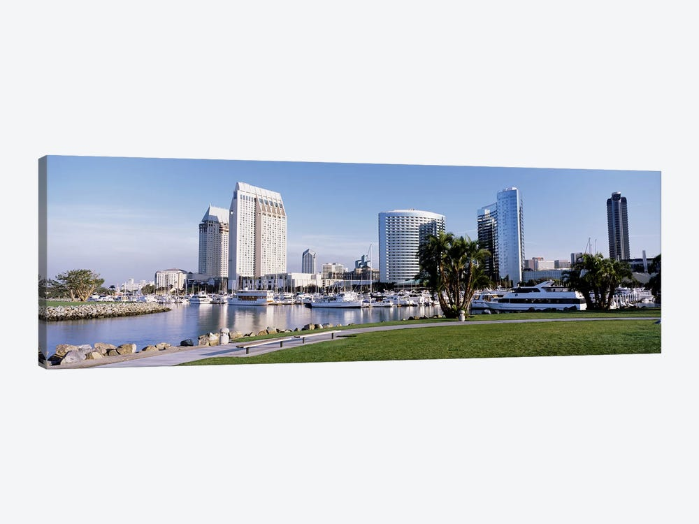 Panoramic View Of Marina Park And City Skyline, San Diego, California, USA 1-piece Canvas Art Print