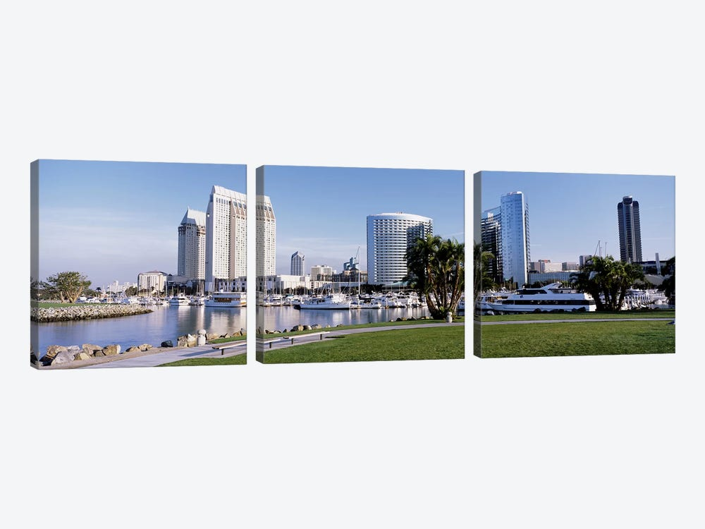 Panoramic View Of Marina Park And City Skyline, San Diego, California, USA 3-piece Canvas Print