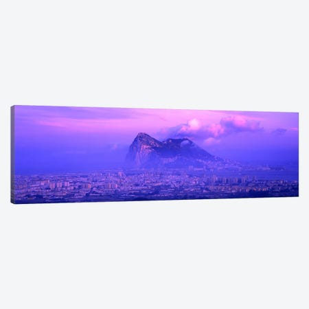 Cloudy Purple Dusk, Rock Of Gibraltar, Iberian Peninsula, Gibraltar Canvas Print #PIM4044} by Panoramic Images Canvas Wall Art