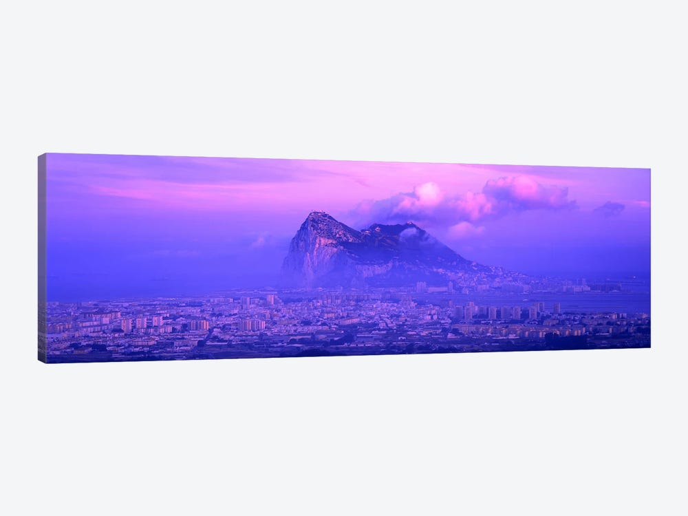 Cloudy Purple Dusk, Rock Of Gibraltar, Iberian Peninsula, Gibraltar 1-piece Canvas Artwork