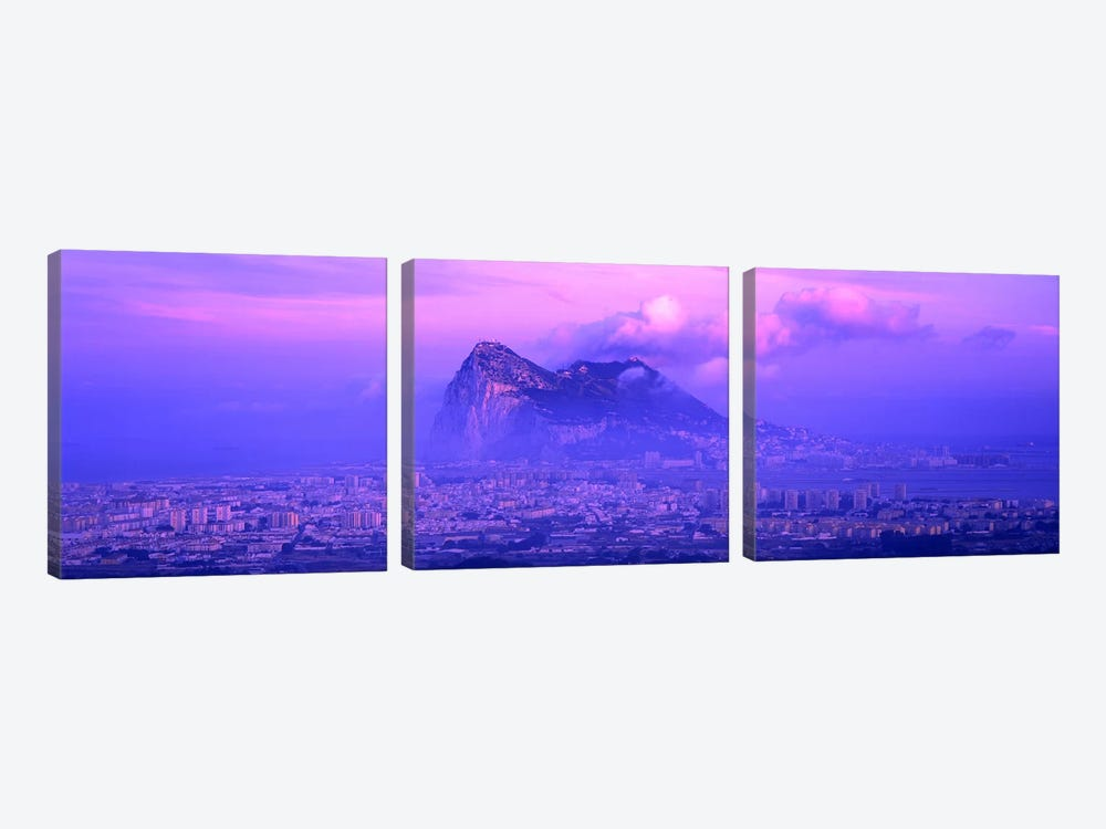 Cloudy Purple Dusk, Rock Of Gibraltar, Iberian Peninsula, Gibraltar 3-piece Canvas Artwork