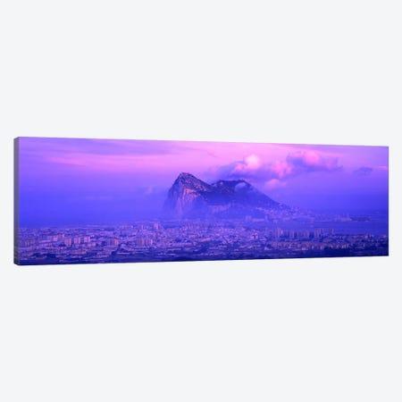 Cloudy Purple Dusk, Rock Of Gibraltar, Iberian Peninsula, Gibraltar Canvas Print #PIM4044} by Panoramic Images Canvas Wall Art