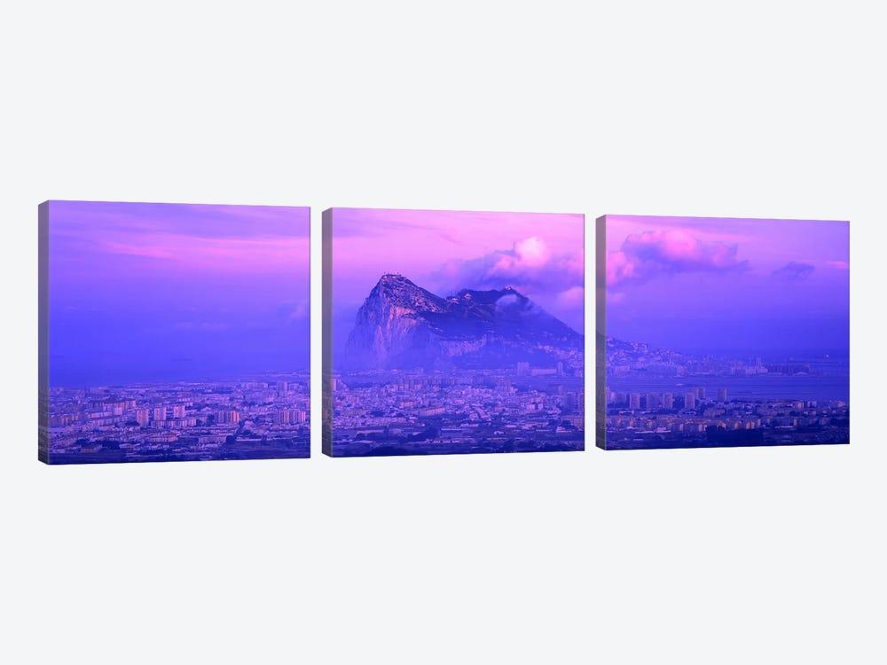 Cloudy Purple Dusk, Rock Of Gibraltar, Iberian Peninsula, Gibraltar by Panoramic Images 3-piece Canvas Artwork