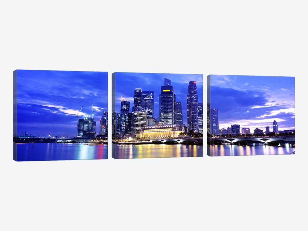 Downtown Skyline At Sunset, Singapore by Panoramic Images 3-piece Canvas Wall Art