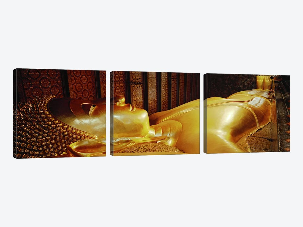 Thailand, Bangkok, Wat Po, Reclining Buddha by Panoramic Images 3-piece Canvas Art