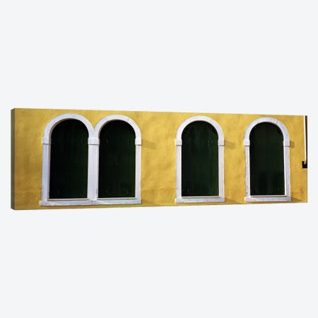 Windows in Yellow Wall Venice Italy Canvas Print #PIM4059} by Panoramic Images Canvas Art