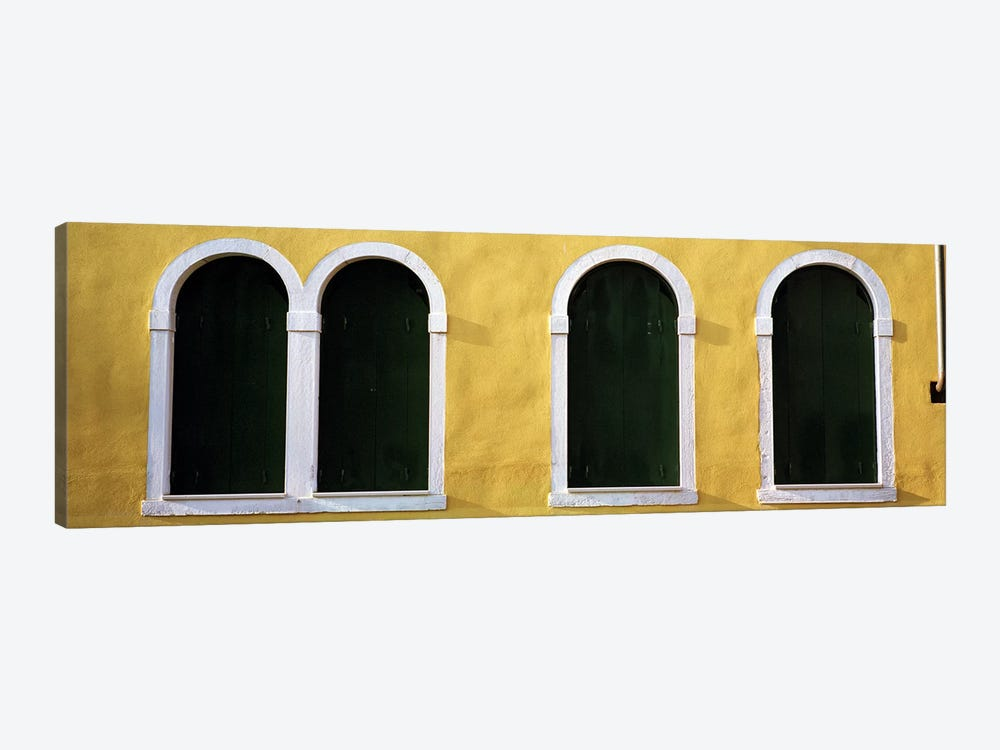 Windows in Yellow Wall Venice Italy by Panoramic Images 1-piece Canvas Art