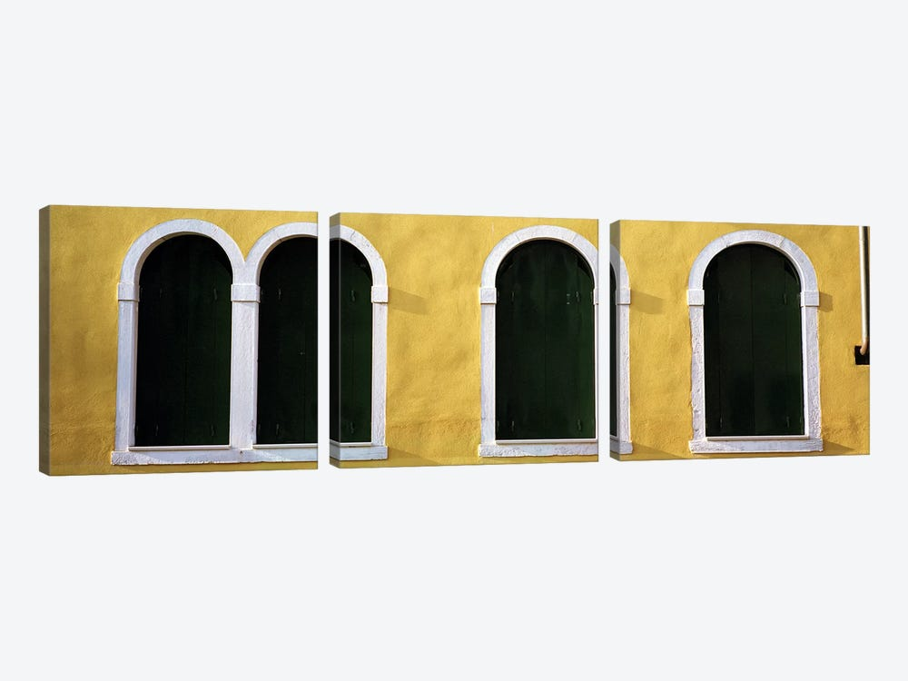Windows in Yellow Wall Venice Italy by Panoramic Images 3-piece Canvas Art