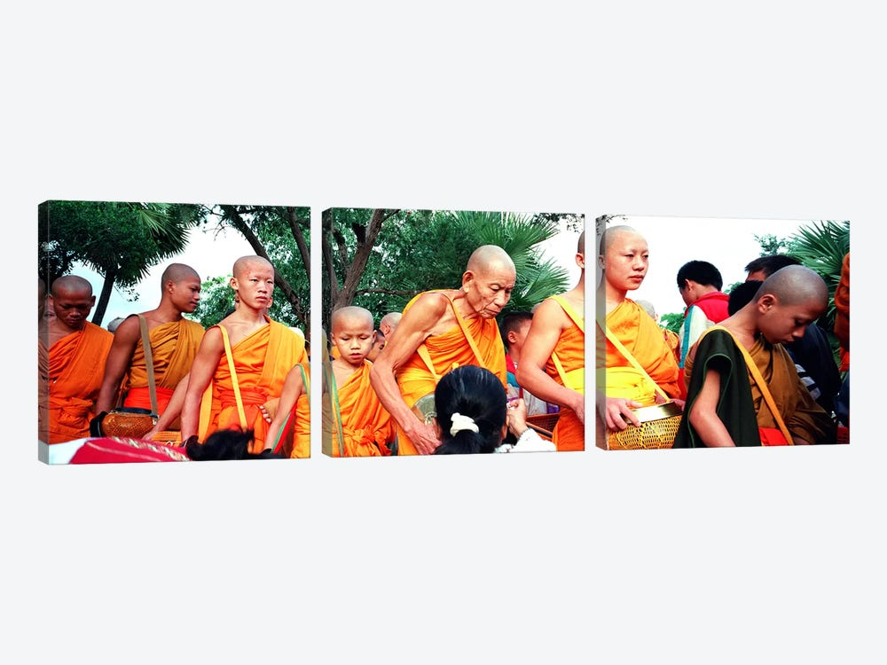 Buddhist Monks Luang Prabang Laos by Panoramic Images 3-piece Canvas Wall Art