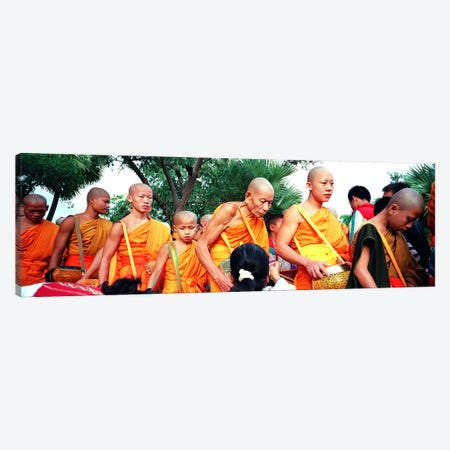 Buddhist Monks Luang Prabang Laos 3-Piece Canvas #PIM4060} by Panoramic Images Canvas Art Print