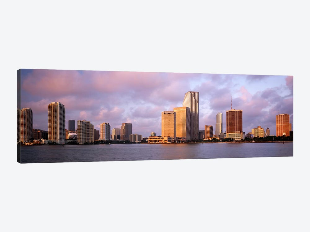 Waterfront And Skyline At Dusk, Miami, Florida, USA by Panoramic Images 1-piece Canvas Print