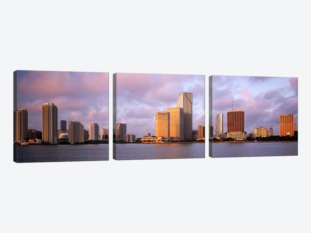 Waterfront And Skyline At Dusk, Miami, Florida, USA by Panoramic Images 3-piece Canvas Print