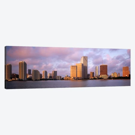 Waterfront And Skyline At Dusk, Miami, Florida, USA Canvas Print #PIM4063} by Panoramic Images Canvas Art Print