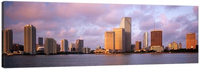 Waterfront And Skyline At Dusk, Miami, Florida, USA Canvas Art Print