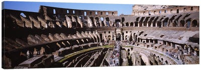 High angle view of tourists in an amphitheater, Colosseum, Rome, Italy Canvas Art Print