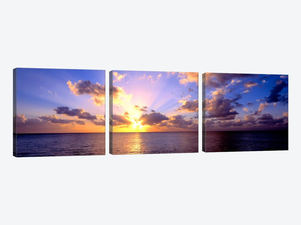 Sunset 7 Mile Beach Cayman Islands Caribbean by Panoramic Images 3-piece Canvas Art Print